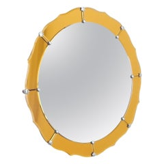 Midcentury Round Mirror with Yellow Orange Frame