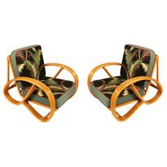 Mid Century Round Pretzel Arm Rattan Chair Set