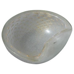 Midcentury Round Seguso Murano Bowl Air Bubbles in Gold Dust Italian Design