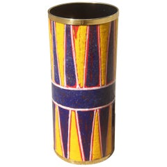 Midcentury Round Siva Poggibonsi Umbrella Stand Enameled Blu Yellow Gold Brass