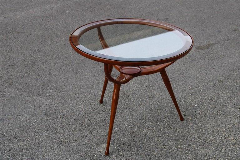 Midcentury round table coffee solid cherrywood design Cassina, Carlo de Carli attributed.