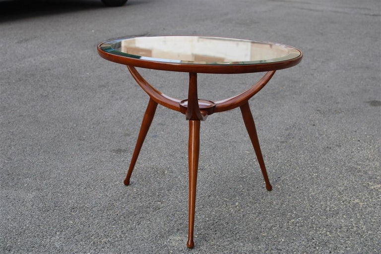 Mid-Century Modern Midcentury Round Table Coffee Solid Cherrywood Design Cassina Carlo De Carli For Sale