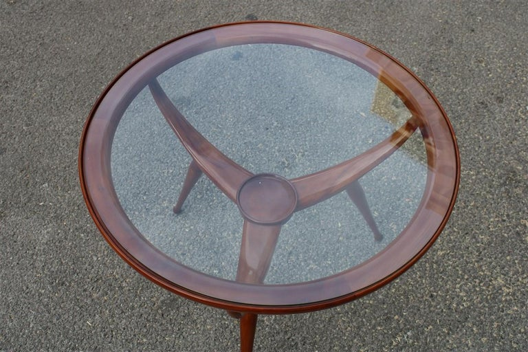 Italian Midcentury Round Table Coffee Solid Cherrywood Design Cassina Carlo De Carli For Sale