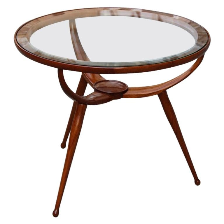 Midcentury Round Table Coffee Solid Cherrywood Design Cassina Carlo De Carli For Sale