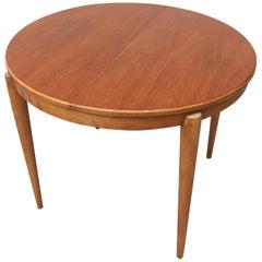 Midcentury Round Teak Dining Table with Hidden Leaf