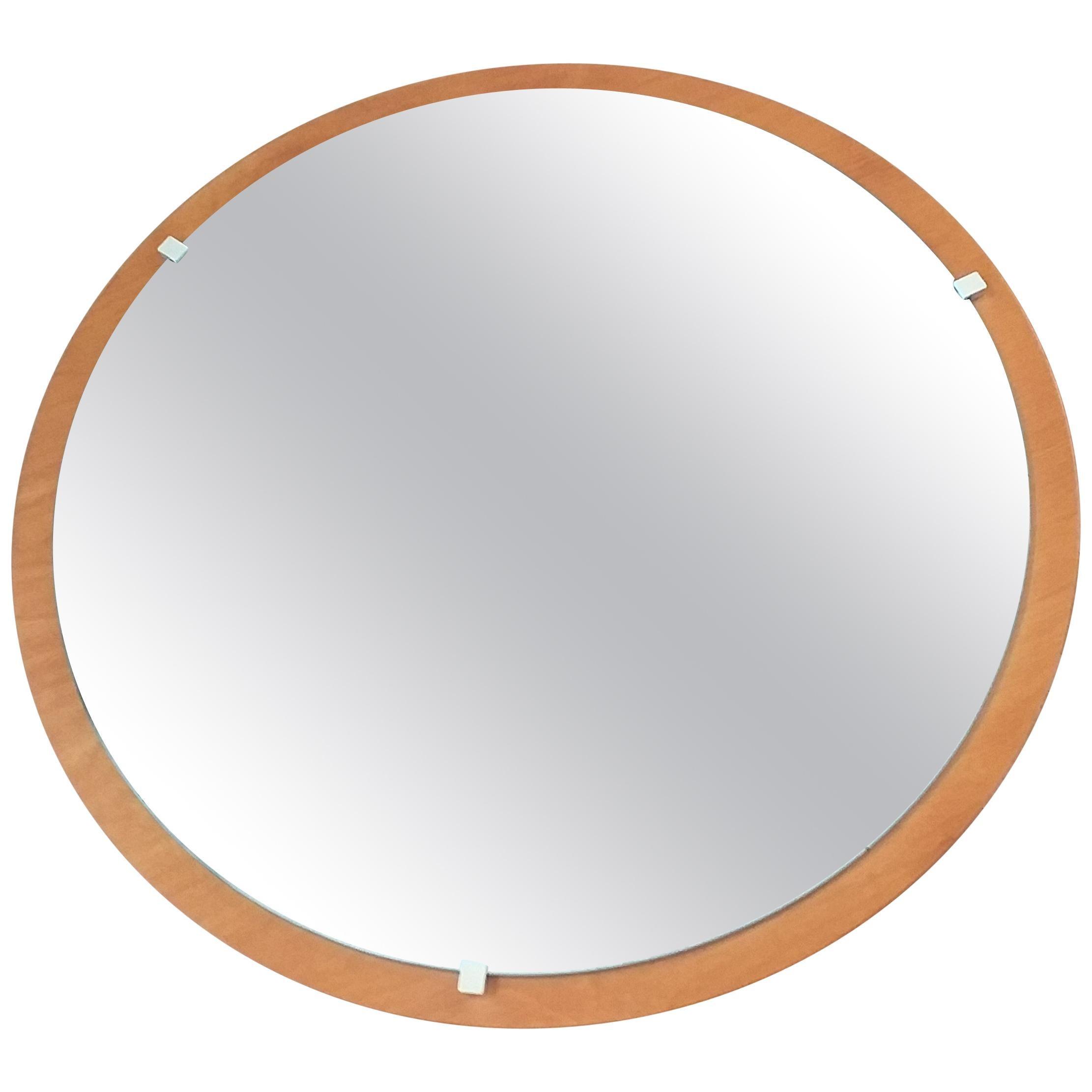 Midcentury Round Teak Veneer Wall Mirror, Denmark, 1960s