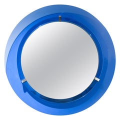 Mid-Century Rounded Blue Glass Mirror, Italy, 1960