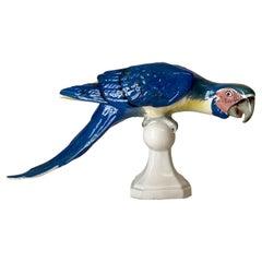 Mid-Century Royal Dux Porcelain Perching Macaw Parrot