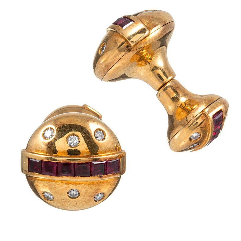 Round Cut Midcentury Ruby and Diamond Cufflinks For Sale