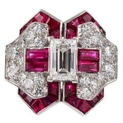 "Midcentury Ruby and Diamond Ring, Signed ""Gumbiner"""