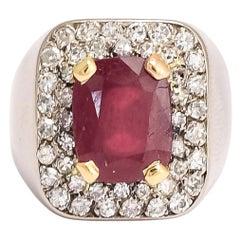 Mid-Century Ruby Diamond Signet / Pinky Ring