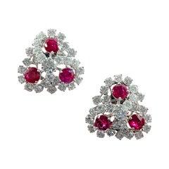 Mid-Century Ruby Diamond Trefoil Cluster Clip-On Earrings Platinum 1950s 1960s