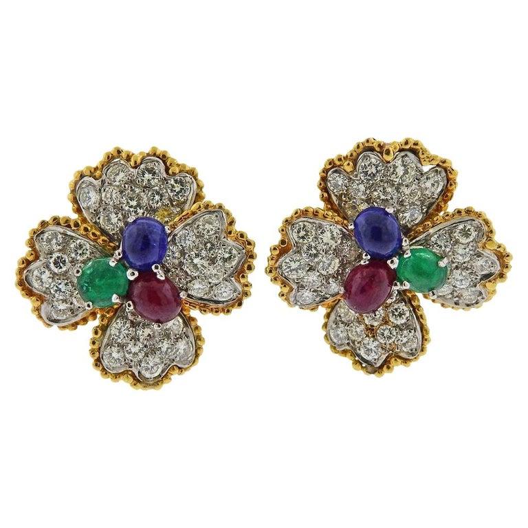 Mid Century Ruby Emerald Sapphire Diamond Gold Platinum Earrings For Sale