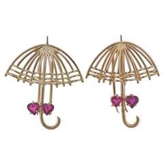 Mid Century Ruby Gold Umbrella Brooch Set