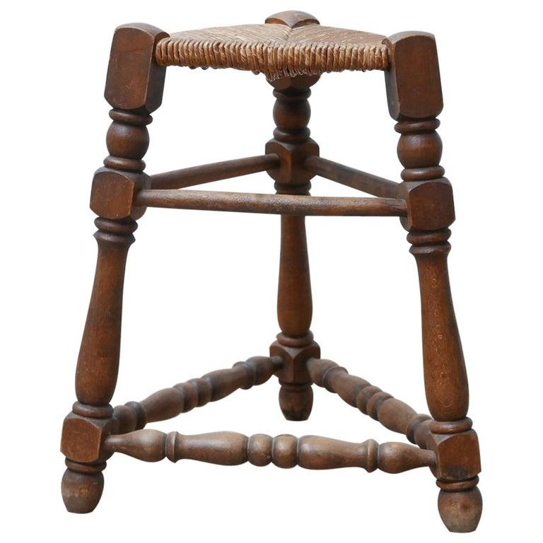 Midcentury Rush Three Legged Stool For Sale