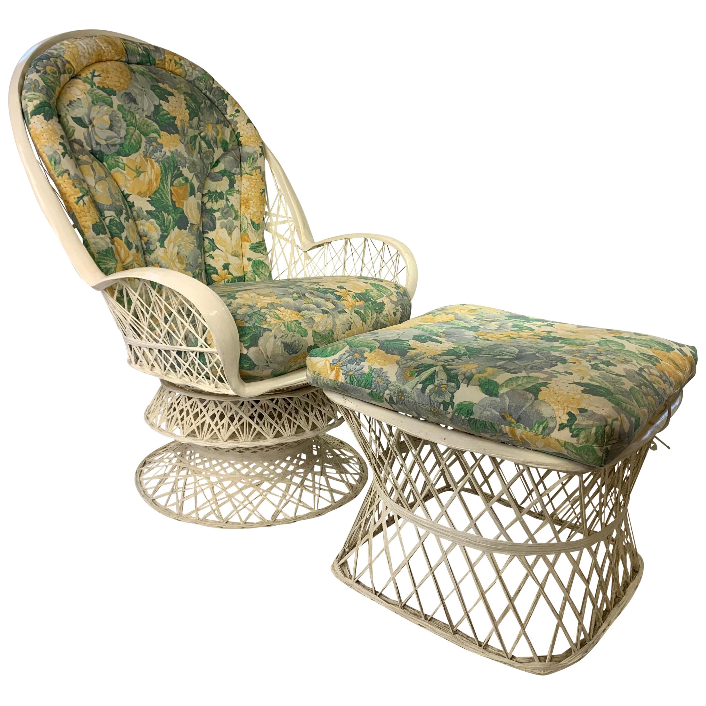 Midcentury Russell Woodard Spun Fiberglass Swivel Lounge Chair and Ottoman