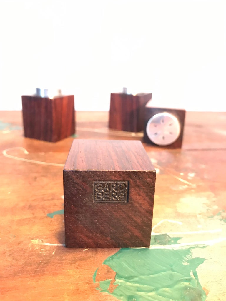 Hand-Crafted Midcentury Salt and Pepper Shakers in Sterling Sliver For Sale