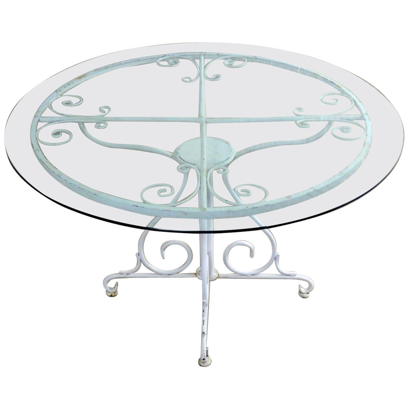 Midcentury Salterini Style Wrought Iron Round Patio Table
