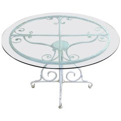 Midcentury Salterini Style Wrought Iron Round Patio Table