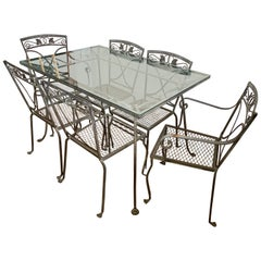 Midcentury Salterini Wrought Iron Dining Set, Table and 6 Chairs, 1950s