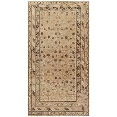 Midcentury Samarkand Chocolate Brown and Beige Hand Knotted Wool Rug