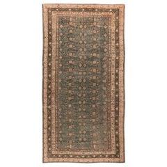 Midcentury Samarkand Deep Indigo and Brown Hand Knotted Wool Rug