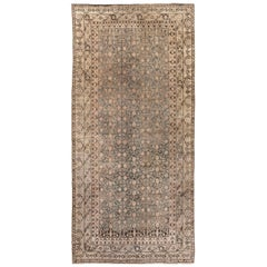 Midcentury Samarkand Gray, Blue, Beige & Brown Hand Knotted Wool Rug