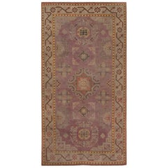 Midcentury Samarkand Purple and Brown Hand Knotted Wool Rug