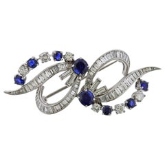 Midcentury Sapphire Diamond Platinum Brooch Clip
