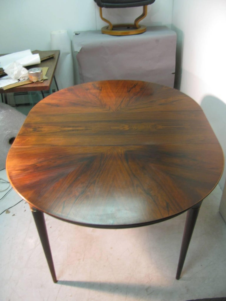 Midcentury Scandanavian Modern Rosewood Dining Room Table with Two Leaves For Sale 2