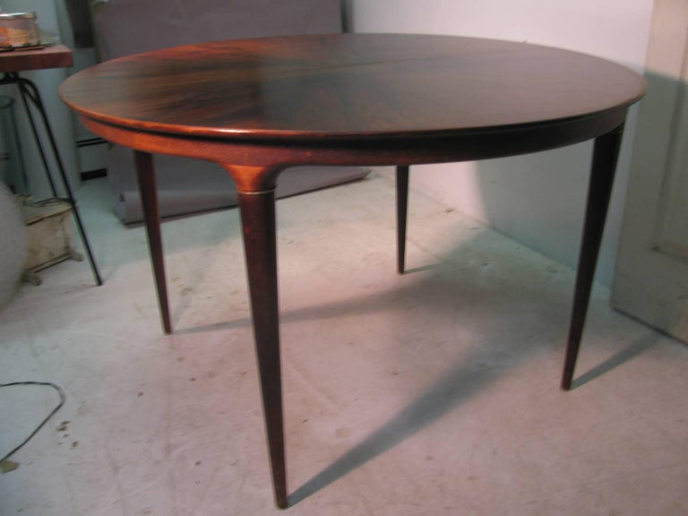 Scandinavian Modern Midcentury Scandanavian Modern Rosewood Dining Room Table with Two Leaves For Sale