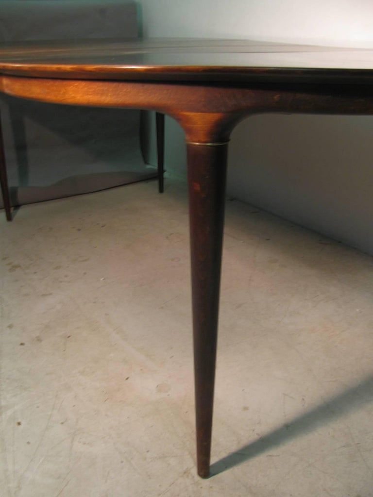 Brass Midcentury Scandanavian Modern Rosewood Dining Room Table with Two Leaves For Sale