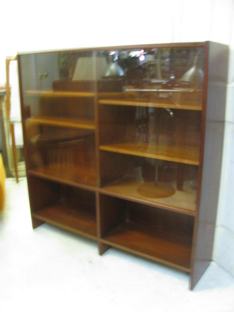 Mid-Century Modern Mid Century Scandanavian Teak Bookcase with Glass Doors For Sale