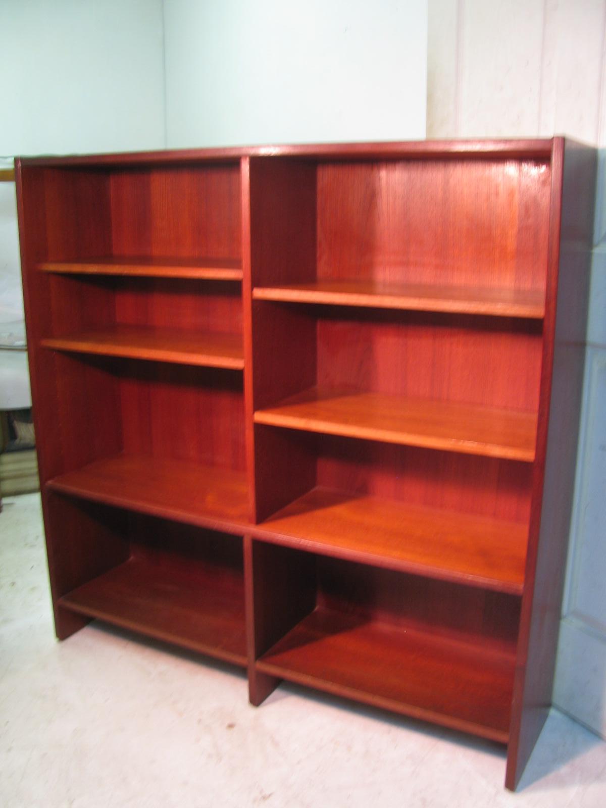 Midcentury Scandanavian Teak Bookcase With Glass Doors