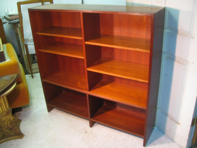 Polished Mid Century Scandanavian Teak Bookcase with Glass Doors For Sale