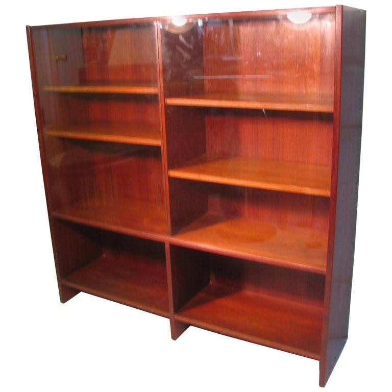 Mid Century Scandanavian Teak Bookcase with Glass Doors For Sale