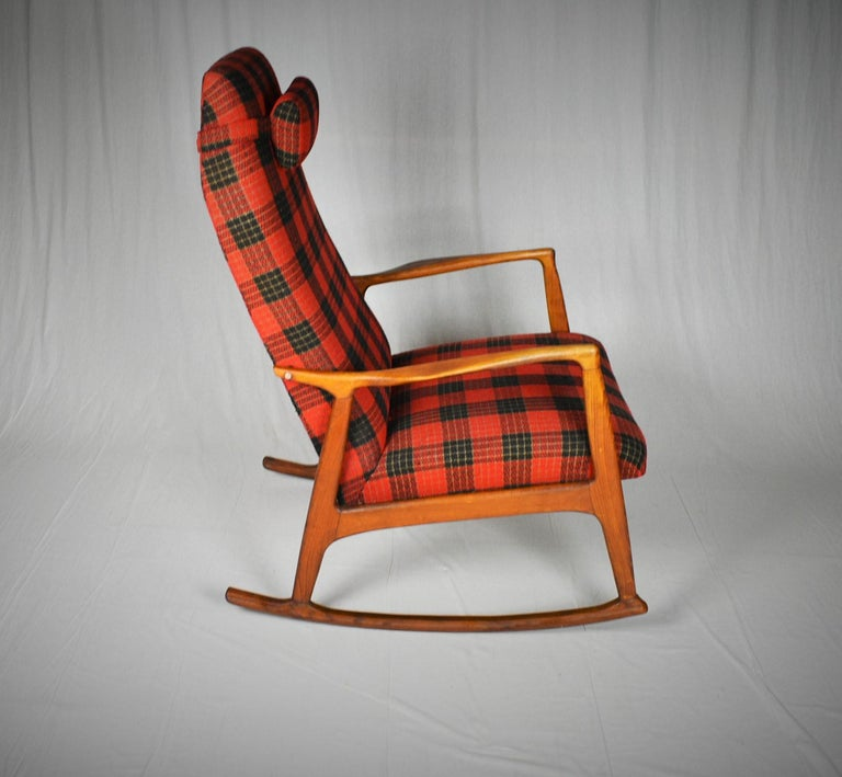 Fabric Midcentury Scandinavian Beechwood Rocking Chair, 1960s