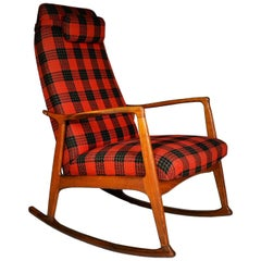 Midcentury Scandinavian Beechwood Rocking Chair, 1960s