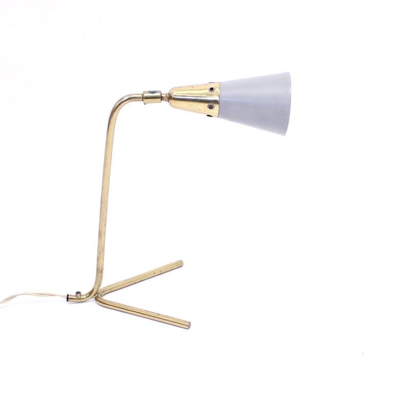 Scandinavian Modern Midcentury Scandinavian Brass Table Lamp, 1950s For Sale