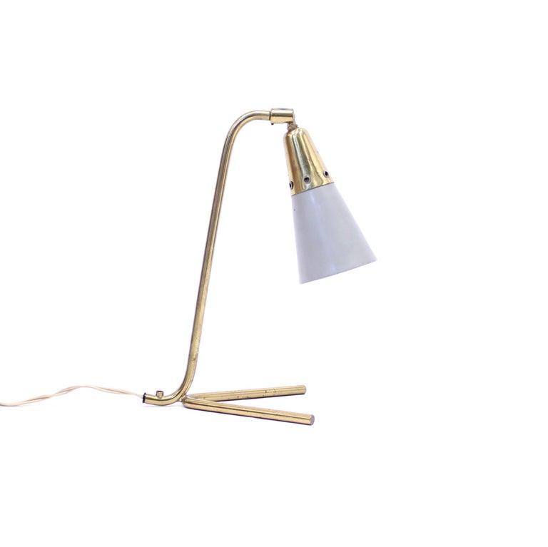 Swedish Midcentury Scandinavian Brass Table Lamp, 1950s For Sale