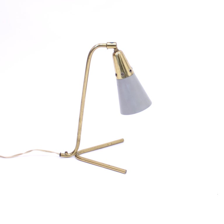 Midcentury Scandinavian Brass Table Lamp, 1950s In Good Condition For Sale In Uppsala, SE