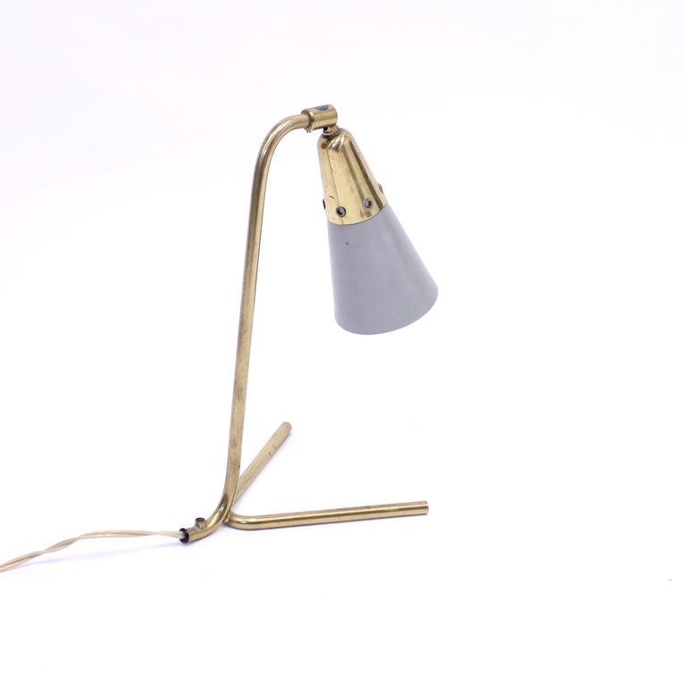 20th Century Midcentury Scandinavian Brass Table Lamp, 1950s For Sale