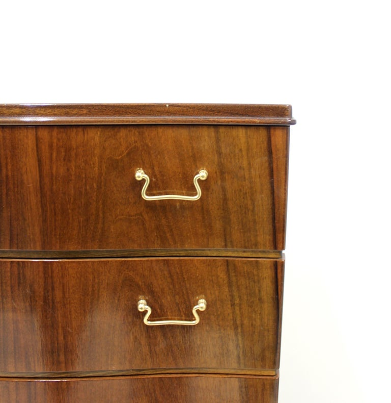 Mid-20th Century Midcentury Scandinavian Curved Walnut Chest of Drawers, 1950s For Sale
