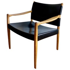 Black Leather and Ash Armchair by Per-Olof Scottes for IKEA