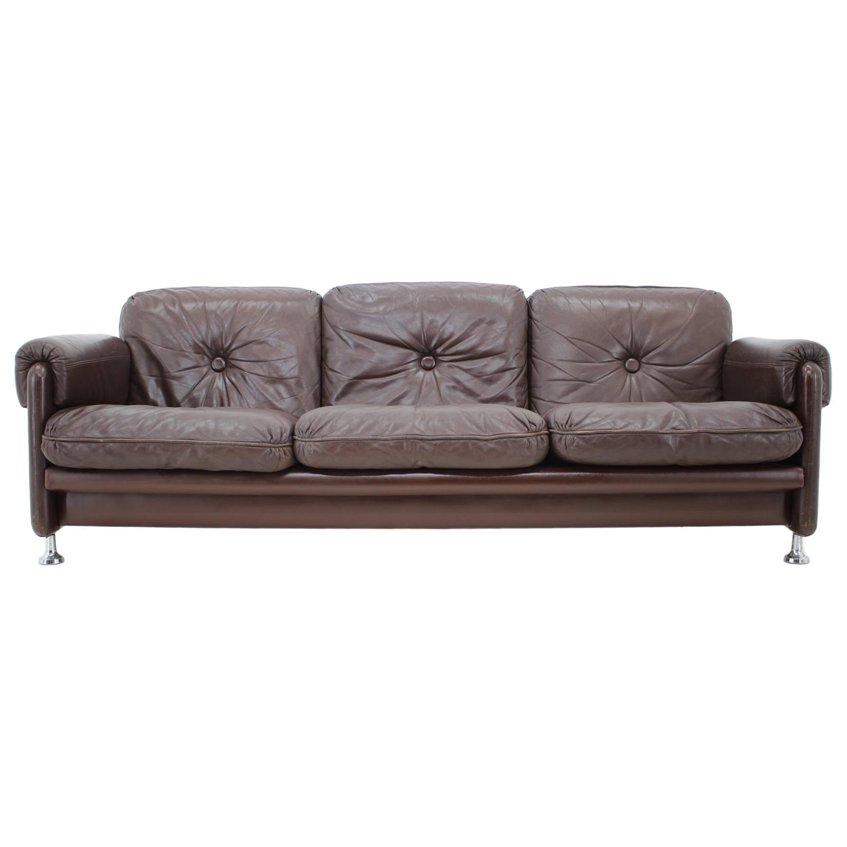 Midcentury Scandinavian Leather Sofa for MYRSKYLÄ OY, Finland, 1960s