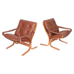 Midcentury Scandinavian Lounge Chairs in Patinated Leahter by Ingmar Relling