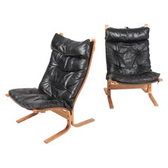Midcentury Scandinavian Lounge Chairs in Patinated Leather by Ingmar Relling
