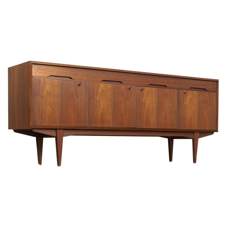 Midcentury Scandinavian Modern Alf Aarseth for Walnut Wood Sideboard Credenza For Sale