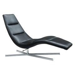 Mid Century Scandinavian Modern Black Leather & Chrome Base Chaise Lounge Chair