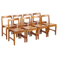 Midcentury Scandinavian Modern Oakwood Side Chairs or Dining Chairs, Set of 8